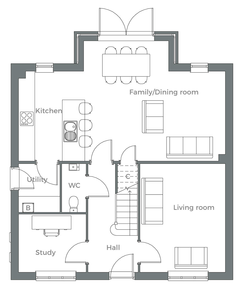 The Hornbeam ground floor plan