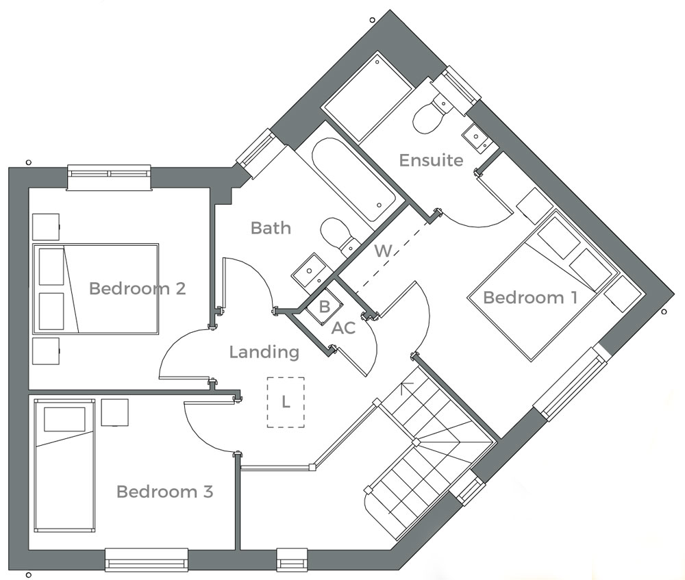 The Willow first floor plan