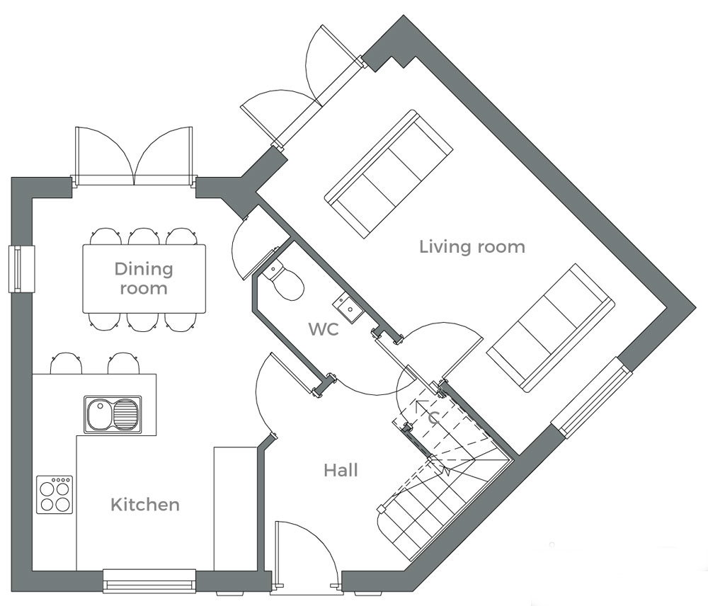 The Willow ground floor plan